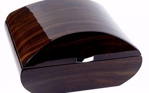 Humidor 50 szál szivar részére, cédrusfa szivar tároló doboz, párásítóval, digitális-hygrométerrel, barna, ívelt
