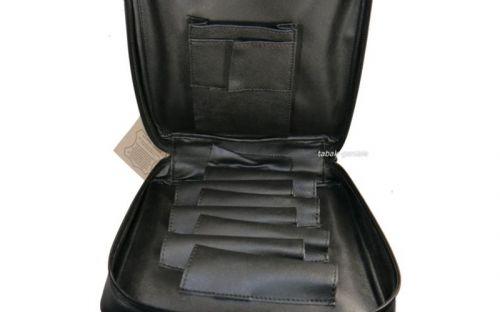 Pipatáska 7 pipának - fekete bőr (22,5x21,5x6,5cm)