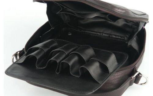 Pipatáska 8 pipának - fekete bőr, vállpánttal (22,5x21,5x7cm)