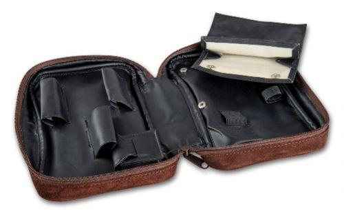 Pipatáska 3 pipának - szarvasbőr (22x14x6cm)