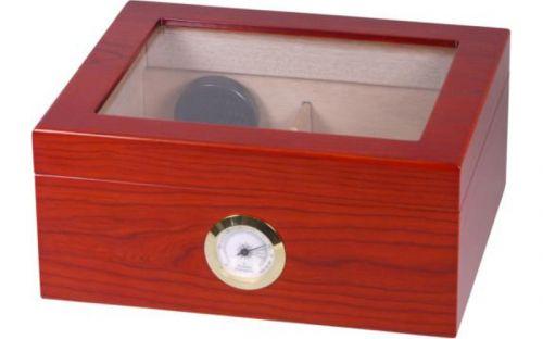 Matt barna szivar tartó doboz, cédrusfa, üvegtetővel, párásítóval, külső hygrométerrel