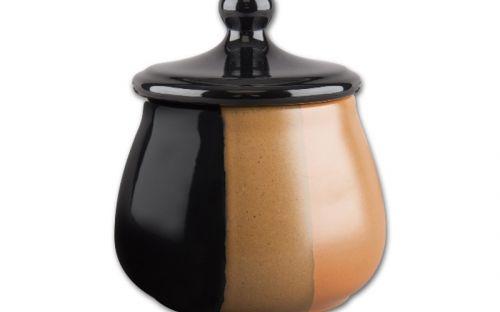 Pipadohány tartó - fekete/világosbarna kerámia