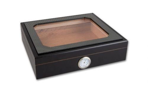Humidor 30 szál szivar részére, cédrusfa szivar doboz, üvegtető, párásítóval, hygrométerrel - Carbon