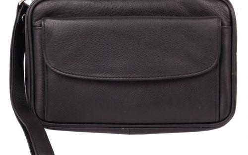 Pipatáska 4 pipának - fekete bőr (20,5x12,5x7,5cm)