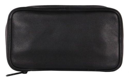 Pipatáska 4 pipának - fekete bőr (19x10,5x6cm)