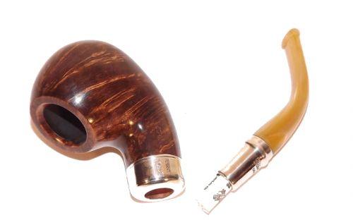 Peterson pipa Flame Grain XL02 Army Spigot Silver F-lip Bent Apple