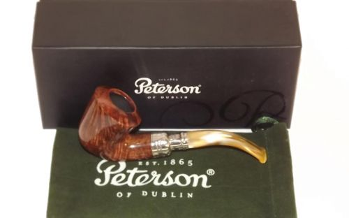 Peterson pipa Flame Grain B10 Army Spigot Silver F-lip Bent Dublin