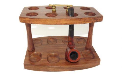 Szezámfa pipatartó állvány 8 pipa részére, rézfogantyús