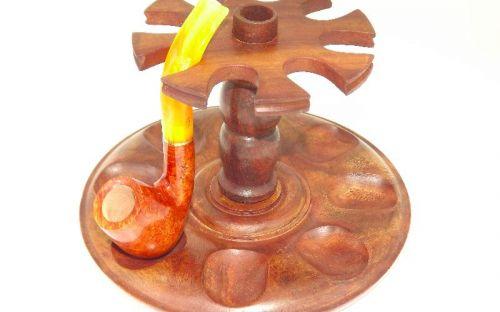 Szezámfa pipatartó 8 pipa részére - kerek