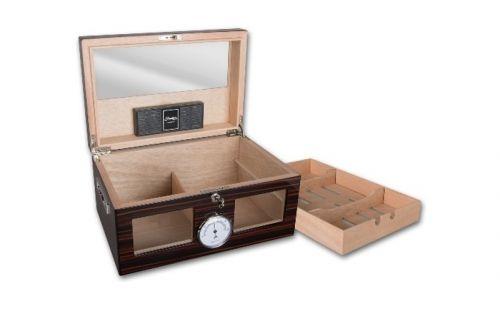 Exkluzív humidor 80-100 szál szivar részére, üveges, cédrus szivar tároló doboz, hygrométerrel, párásítóval - Achenty!