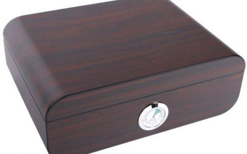 Humidor 50 szál szivar részére, cédrusfa szivar tároló doboz, párásítóval, külső hygrométerrel, barna, ovál - Achenty!