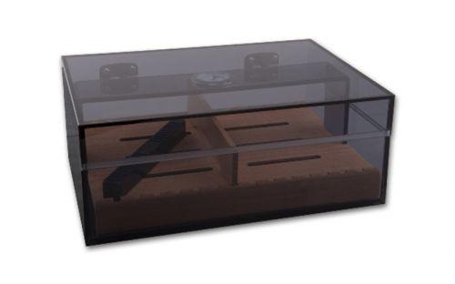 Humidor 30 szál szivar részére, szivar tároló doboz cédrusfa betéttel - barna akryl