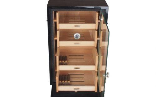 Szivarszekrény - szivar tároló,  250 szál szivarnak, üvegajtós, hygrométerrel