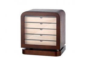 Humidor szekrény 80 szivar részére, lekerekített szivartartó szekrény, üveg ajtóval - barna