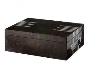 Humidor 50 szál szivar részére, spanyol cédrusfa szivar doboz, párásító, digitális hygrométer - lakkozott barna, ezüst mintával