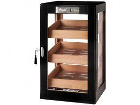 Humidorszekrény - szivar tároló szekrény 80-100 szál szivarnak, spanyol cédrusfa, párásító, digitális hygrométer - körbe üveges, fekete