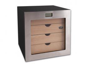 Humidor szekrény 80 szivar részére, kocka szivartartó szekrény, párásító, külső hygrometer - fémkeretes üvegajtó