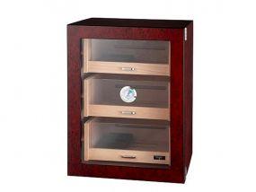 Humidorszekrény - szivar tároló szekrény 80-100 szál szivarnak, spanyol cédrusfa, párásító, hygrométer - üvegajtóval, barna Angelo