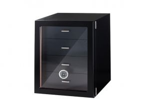 Humidor szekrény 80 szivar részére, 4 fókkal, külső higrométer, üveg ajtós - fekete, Angelo