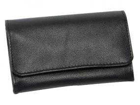 Pipadohány tartó - fekete marhabőr (8x13cm)