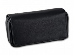 Pipatáska 2 pipának - fekete bőr (18,5x6x9,5cm)