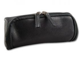 Pipatáska 2 pipának - fekete bőr (18x7x8cm)