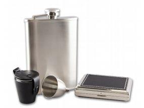 Flaska szett díszdobozban - flaska, kupica és cigarettatárca