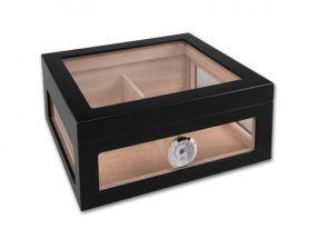 Humidor 60 szál szivar részére, spanyol cédrusfa szivar doboz, hygrométer, párásító - üvegtetős, fekete