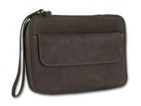 Pipatáska 4 pipának - barna bivalybőr, kézre akasztható (20x12x5,5cm)