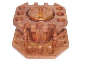Szezámfa pipatartó + dohánytartó doboz, 12 pipa részére