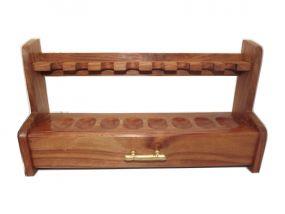 Szezámfa pipatartó állvány 8 pipa részére, fiókkal