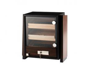 Humidor szekrény 80 szivar részére, négyszögletes szivartartó szekrény, üveg ajtóval - barna
