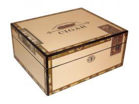 Humidor 30 szál szivar részére, mintás, lakkozott szivartartó doboz, kulccsal zárható, párásító és belső hygrometer
