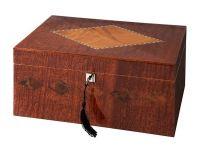 Humidor 80 szivar részére, spanyol cedrusfa szivar doboz, párásítóval, digitális hygrometer - intarziás