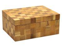 Humidor 50 szál szivar részére, spanyol cédrusfa szivar doboz, párásító, hygrométer - kockás