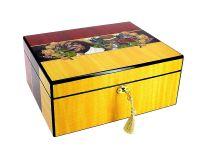 Humidor 50 szál szivar részére, lakkozott spanyol cédrusfa szivartartó doboz, kulccsal zárható, párásító és belső hygrometer - Cigarman