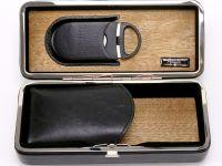 Utazó humidor 4 szál szivarhoz - cédrusfa szivartartó doboz, fekete + szivarvágó