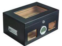 Gasztrohumidor 100 szál szivar részére, üveges szivar doboz, spanyol cédrusfa, párásító, digitális hygrométer - fekete, Achenty!